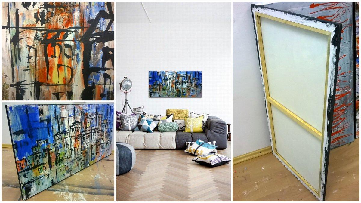 Dnevni boravci uređenje slikama galerije MAG - originalna slika Konture grada...